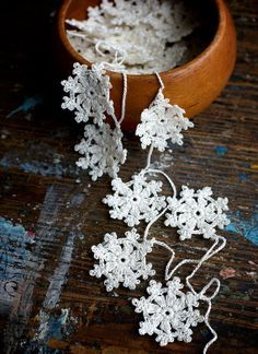 Crochet Garland – Small Doily Bunting — Snowflake garland