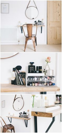 DIY makeup vanity table ideas and projects that will also be best alternative to modern and expensive market-bought makeup vanity tables!Small Space Beauty Station make up room ideas,make up room studio 25 DIY Vanity Table Ideas That You Make Easily Diy Makeup Area, Diy Makeup Vanity Table, Diy Makeup Storage, Vanity Tables, Vanity Ideas, Makeup Organization, Small Vanity Table, Bedroom Organization, Ikea Makeup