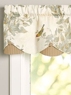 The Aviary Layered Scalloped Window Valance has a pattern of richly colored songbirds. Valance has satin-like fabric on top and a ribbed striped skirting below. Valance Window Treatments, Kitchen Window Treatments, Window Coverings, Country Window Treatments, Window Treatments Living Room Curtains, Valances For Living Room, Custom Window Treatments, Kitchen Window Valances, Kitchen Curtains