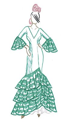 figurin flamenca ¿Cómo hacer un vestido de flamenca? Parte I. Diseño general y cuerpo del vestido Flamenco Costume, Flamenco Skirt, Flamenco Dancers, Spanish Costume, Spanish Dress, Applique Dress, Embroidery Applique, 50th Birthday Party Themes, African Drawings