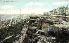 "Halifax West Yorkshire England 1908 ""The Rocks"" Cliffs Antique Vintage Postcard"