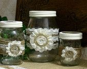 Items similar to ViNTAGE LACE on Burlap wedding JARs, Bride and Groom centerpiece, rustic farm house, shabby chic, country wedding on Etsy. , via Etsy.