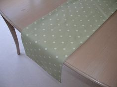 Wonderful Table Runner 84 7ft X 1ft Sage Green White Polka By Pipdesigns, $46.00