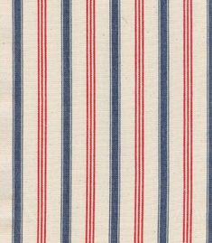 Vermont Stripe by Olicana. A great narrow stripe in red and blue woven on a cream cloth.