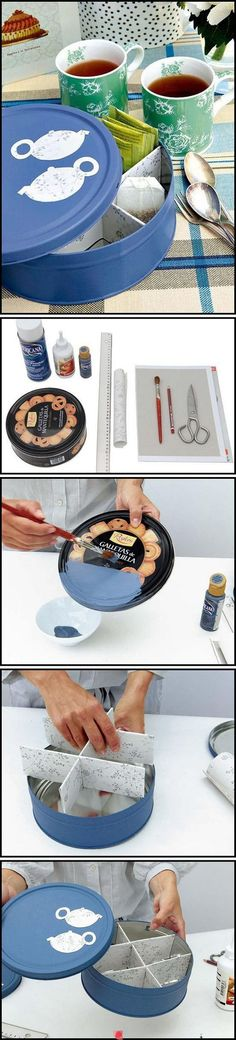 Reuse tin can - very nice way to keep urself nice and tidy. Best, turn sth un-used stuffs become so useful :)