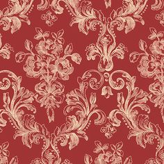 """Norwall Wallcoverings Inc Grand Chateau 32.7' x 20.5"""" Vintage Floral Wallpaper Color: Red / Cream"""