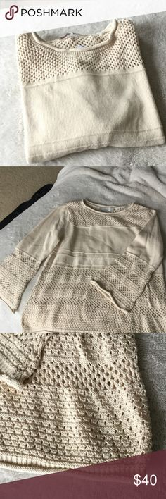 LOFT Open Stitched Sweater Brand new LOFT sweater. Somewhat see through on lower half but you could go without wearing something underneath. Light beige/tan color. Bell sleeves. A great spring sweater! LOFT Sweaters
