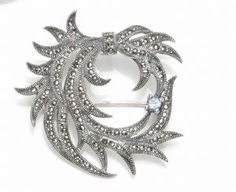 Sterling silver & Marcasite Brooch with semi-precious stone detail