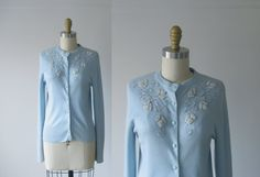 vintage 1950s cardigan / 50s sweater / beaded cardigan by Dronning