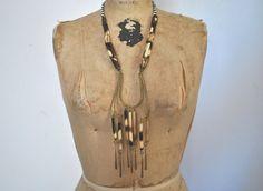 Authentic Bone Necklace / boho ethnic / 1970s