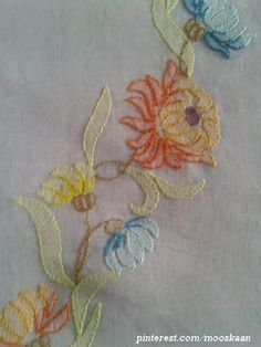Shadow-work / Lucknow Chikan embroidery on organdy sari (for my MIL) using Anchor Embroidery thread...... (Series 1-P)
