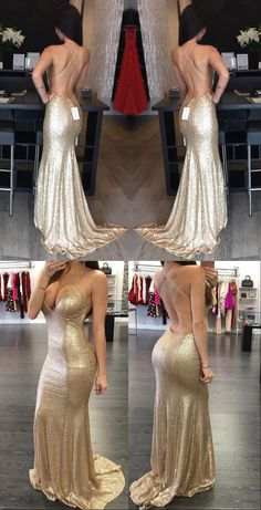 gold sequins mermaid long prom dress 2017, sexy mermaid gold evening dress