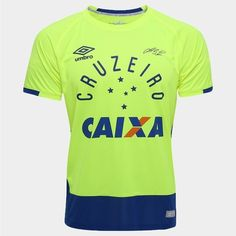 bd805902c4b47 Camisa Cruzeiro Goleiro 2016 nº 1 - Fábio Torcedor Umbro Masculina - Verde  Limão e Azul