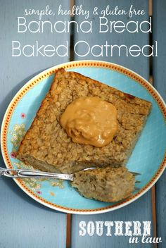 Healthy Banana Bread Baked Oatmeal Recipe - low fat, sugar free, #glutenfree (6 servings and 180 cal. per serving or 4 servings and 271,25 cal. per serving)