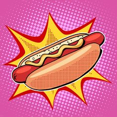 Hot dog fast food vector pop art by studiostoks on @creativemarket