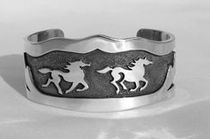 """""""Land of the Beautiful Horses"""" Silver Cuff, $880"""