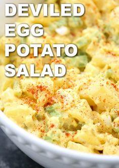 Deviled Egg Potato Salad Best Potato Salad Recipe, Potato Salad With Egg, Easy Potato Salad, Easy Salad Recipes, Egg Recipes, Side Dish Recipes, Cooking Recipes, Healthy Recipes, Recipe For Deviled Egg Potato Salad
