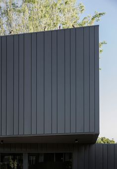 Black metal facade applied in varied thicknesses to add interest and texture across the volumes of the addition at the James Street Residence by B.E Architecture