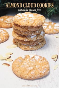 If you love almonds these Almond Cloud Cookies are the perfect treat. They're chewy & light with a touch of sweet. And they're gluten-free! Healthy Low Carb Recipes, Healthy Desserts, Easy Desserts, Appetizer Recipes, Dessert Recipes, Cookie Recipes, Easy Kid Friendly Dinners, Meals For Four, Easy Holiday Recipes