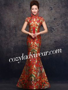 Red Fishtail Qipao / Cheongsam Dress with Dragon Pattern