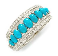FD Gallery | An Art Deco Turquoise and Diamond Bangle Bracelet, by Cartier, circa 1935