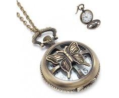 Vintage hodinky na retiazke s motýľom Vintage hodinky na retiazke tyrkysové #vintage #vintagejewelry #pocketwatch #watchnecklace #womanology