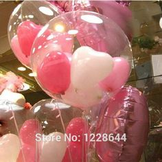 DH_36 inches helium balloons-clear with heart ballooons in