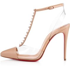 Christian Louboutin Nosy Spikes ($845) ❤ liked on Polyvore featuring shoes, pumps, transparent pumps, leather shoes, high heeled footwear, sling back pumps and high heel slingback pumps