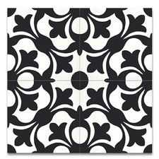 "Sefrou 8"" x 8"" Cement Tile in Black and White"