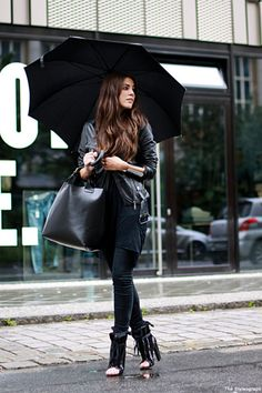 all black, with fierce open-toed booties