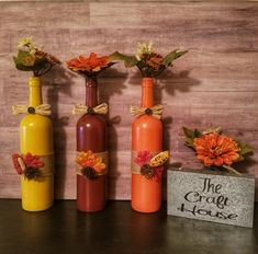 Fall Wine Bottles/Fall Table Decor/Fall Decor/Wine Bottle Decor/Thanksgiving Centerpiece/Fall Home D Fall Wine Bottles, Painted Wine Bottles, Wine Bottle Crafts, Halloween Wine Bottles, Diy Bottle, Bottle Art, Thanksgiving Centerpieces, Diy Thanksgiving, Fall Mantel Decorations