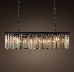 RH's Rhys Clear Glass Prism Rectangular Chandelier Art Deco style born in Paris is evident in the straight-and-curved lines of our elegant lighting. Rectangular Chandelier, Dining Chandelier, Dining Room Light Fixtures, Iron Chandeliers, Vintage Chandelier, Dining Room Lighting, Home Lighting, Chandelier Lighting, Country Chandelier