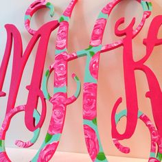 Hand Painted Lilly Pulitzer Wooden Monogram