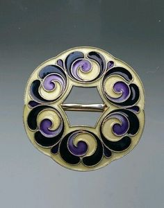 Rare Gustav Gaudernack Antique Norwegian Silver and Enamel Brooch & Pendant