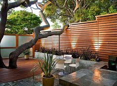 Furniture, Really Cool Modern Landscaping Ideas With Wooden Fence And Glass Gate With Old Tree And Nice Chairs With Round Table And Small Pond With Waterfall: Exterior Modern Landscaping ideas Image