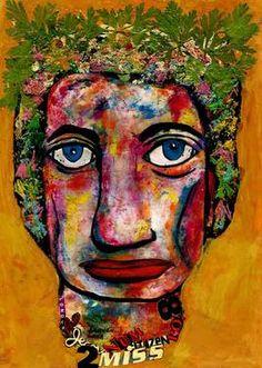 "Saatchi Art Artist CARMEN LUNA; Painting, ""40-RETRATOS Expresionistas. Reina Isabel de Inglaterra."" #art http://www.saatchiart.com/art-collection/Painting-Assemblage-Collage/Expressionist-Portrait/71968/51263/view"