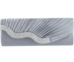 New Trending Clutch Bags: Jubileens Pleated Satin Wavy Crystal Clutch Evening Bag Wedding Purse Handbag (Gray). Jubileens Pleated Satin Wavy Crystal Clutch Evening Bag Wedding Purse Handbag (Gray)   Special Offer: $12.98      133 Reviews Specifications: Color: Black / Gray / Maroon / Purple / Champagne Material: Satin   Rhinestone Size: 28 x 6 x 11cm ( Length,width and height ) Weight: 257g Use:...