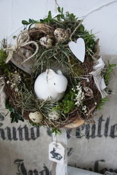 A magically beautiful, simple and natural door wreath that can also be ., A magically beautiful, simple and natural door wreath, which also just charmingly comes from an old window or shutter . Christmas Wreaths, Christmas Crafts, Christmas Decorations, Diy Wreath, Door Wreaths, Easter Arts And Crafts, Easter Egg Designs, Easter Wreaths, Flower Arrangements