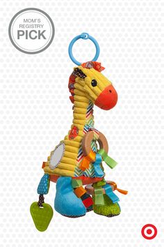 Cute and colorful, the Infantino Go GaGa Giraffe Playtime Pal features bright patterns and fun textures your baby will love. This plush toy has a cheerful chime, teethers, shiny mirror and fabric tags for Baby to discover and explore. Plus, it easily attaches to your car seat, stroller or activity gym.
