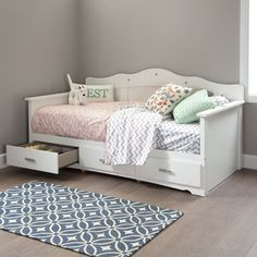 South Shore Tiara Twin Daybed with Storage (Pure White), South Shore Furniture Twin Daybed With Storage, Full Size Daybed, Bed Storage, Storage Drawers, Room Decor For Teen Girls, Big Girl Rooms, Girls Bedroom, Toddler Furniture, Kids Bedroom Furniture