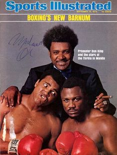 """Boxing Promoter Don King with bitter rivals Muhammad Ali and Joe Frazier on the Sports Illustrated cover before their now famous """"Thrilla in Manila"""" fight in Mohamed Ali, Mike Tyson, Thrilla In Manila, Neil Leifer, But Football, Si Cover, Boxing Posters, Sports Illustrated Covers, Boxing History"""