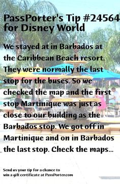 PassPorter Tip for Walt Disney World Caribbean Beach Resort, Beach Resorts, Got Off, Barbados, Disney Trips, Walt Disney World, Buses, Maps, Building