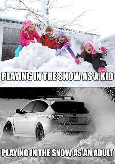 Playing in the snow as a kids vs. Playing in the snow as an adult. Love Subaru! Subaru vs. Winter blog from Luther Bloomington Subaru dealership in Minnesota. Subaru for sale near Minneapolis.