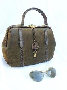 French VTG 40s army green suede leather and by laminuinette