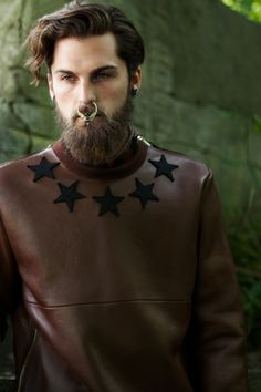 GIVENCHY Brown Leather Crewneck