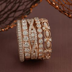Women's wedding bands, stackable fashion bands, rose gold, pave-set, infinity, vintage-inspired, milgrain detailing, diamond