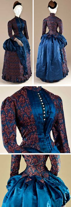 Dress, England, ca. 1885. Plain-weave silk with warp-float and supplementary weft patterning, and silk satin. Los Angeles County Museum of Art