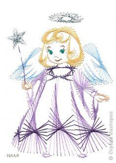 Поделка изделие Рождество Изонить ангелы Картон фото 4