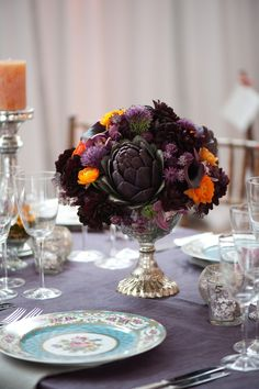 HatchCreative purple artichoke centerpiece