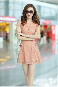 Fascinante estilo coreano del nuevo verano delgado hueco Puff mangas de gasa vestido delgado vestido 10657256 - Vestidos del Día - Dresswe.C... #Pastel ☮k☮